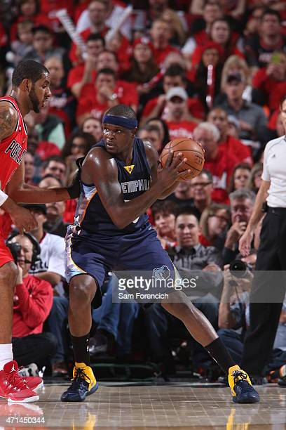 Zach Randolph of the Memphis Grizzlies guards his position against the Portland Trail Blazers in Game Three of the Western Conference Quarterfinals...