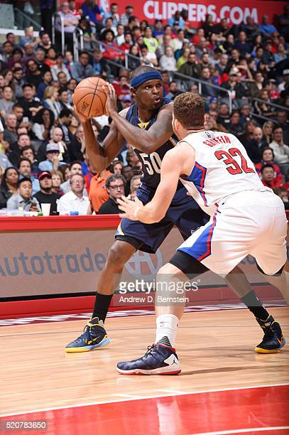Zach Randolph of the Memphis Grizzlies handles the ball against the Los Angeles Clippers on April 12 2016 at STAPLES Center in Los Angeles California...