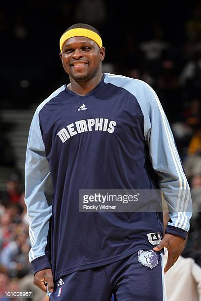 Zach Randolph of the Memphis Grizzlies looks on with a smile during the game against the Golden State Warriors at Oracle Arena on March 24 2010 in...