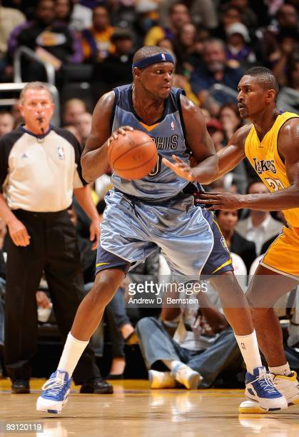 Zach Randolph of the Memphis Grizzlies looks to maneuver against Ron Artest of the Los Angeles Lakers during the game on November 6 2009 at Staples...