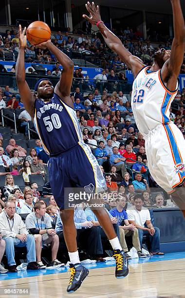 Zach Randolph of the Memphis Grizzlies puts up a shot against Jeff Green of the Oklahoma City Thunder on April 14 2010 at the Ford Center in Oklahoma...