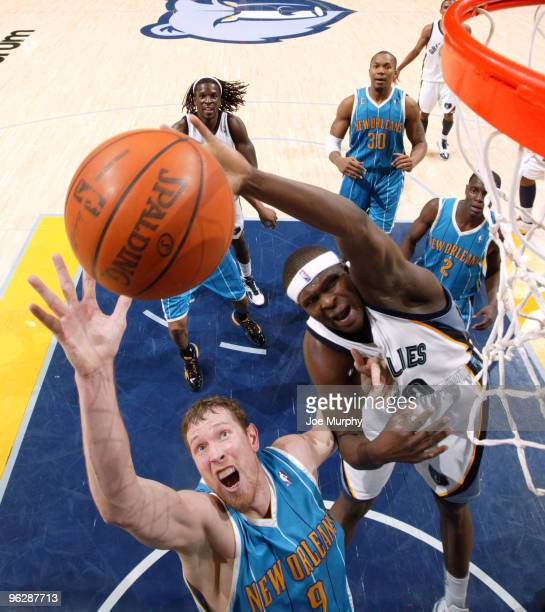 Zach Randolph of the Memphis Grizzlies rebounds the ball against Darius Songalia of the New Orleans Hornets on January 30 2010 at FedExForum in...