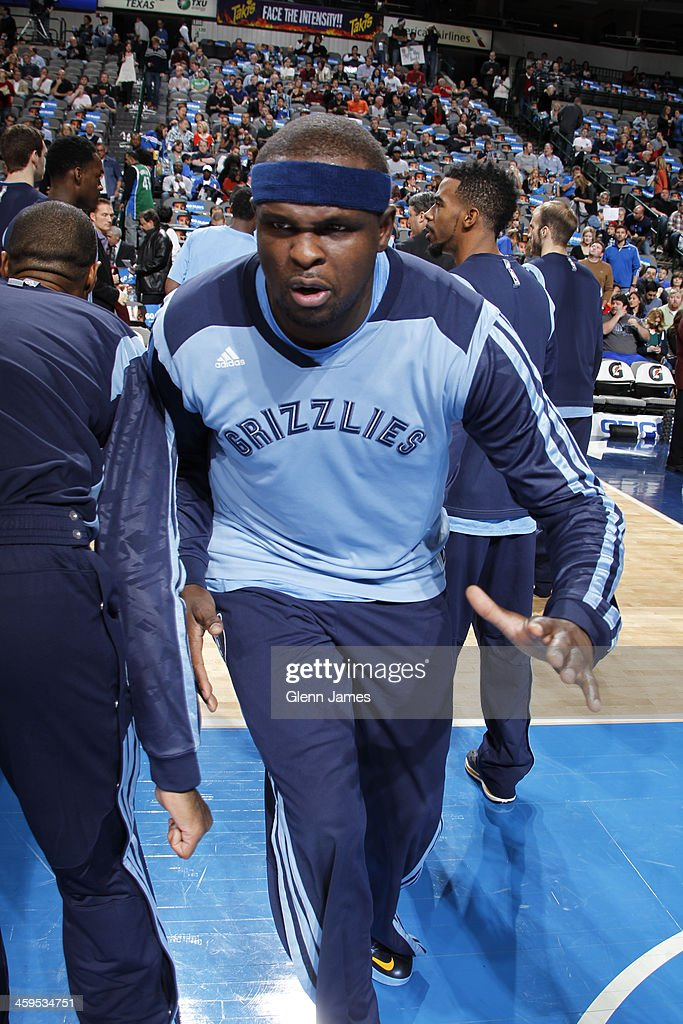 Zach Randolph #50 of the Memphis Grizzlies runs out before the game against the Dallas Mavericks on December 18, 2013 at the American Airlines Center in Dallas, Texas.