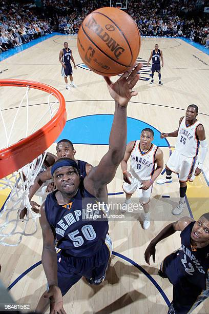 Zach Randolph of the Memphis Grizzlies scores a basket against the Oklahoma City Thunder on April 14 2010 at the Ford Center in Oklahoma City...