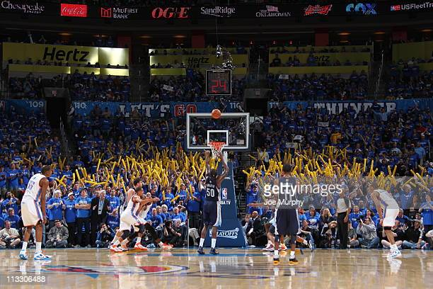 Zach Randolph of the Memphis Grizzlies shoots a free throw against the Oklahoma City Thunder in Game one of the Western Conference Semifinals in the...