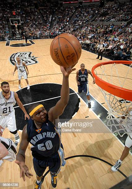 Zach Randolph of the Memphis Grizzlies shoots against the San Antonio Spurs on April 9 2010 at the ATT Center in San Antonio Texas NOTE TO USER User...