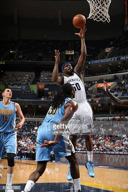 Zach Randolph of the Memphis Grizzlies shoots the ball against the Denver Nuggets on March 30 2016 at FedExForum in Memphis Tennessee NOTE TO USER...