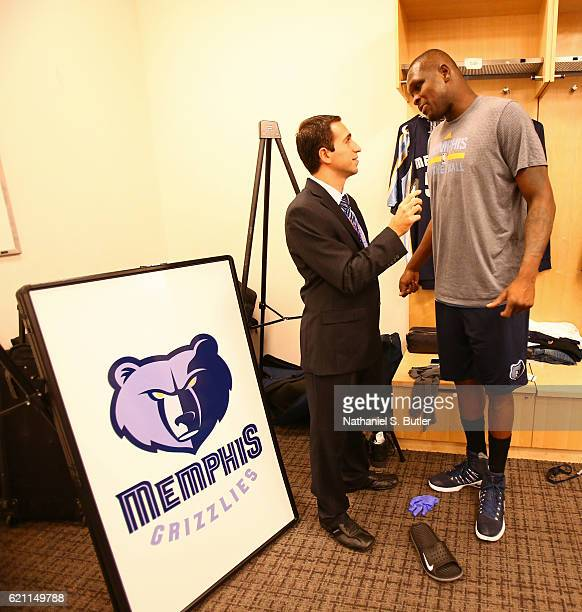 Zach Randolph of the Memphis Grizzlies talks to the media before the game against the New York Knicks on October 29 2016 at Madison Square Garden in...
