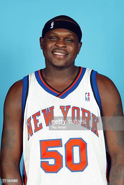 Zach Randolph of the New York Knicks poses during the Knicks Media Day on October 1 2007 at The Madison Square Garden Training Facility in Tarrytown...