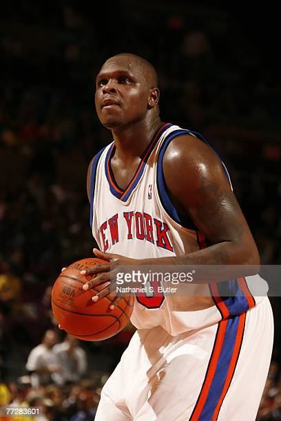 Zach Randolph of the New York Knicks shoots during the game against Maccabi Elite Tel Aviv at Madison Square Garden October 11 2007 in New York City...