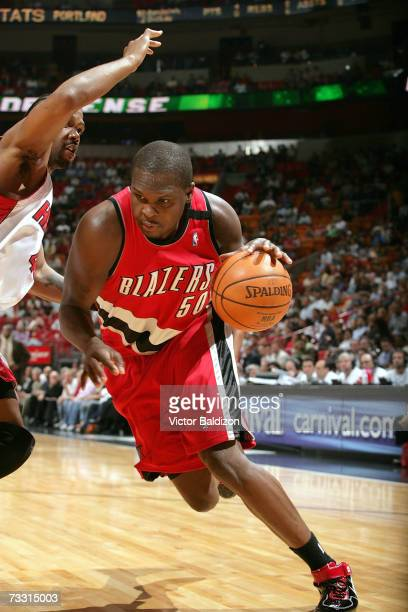 Zach Randolph of the Portland Trail Blazers drives against Udonis Haslem of the Miami Heat on February 13 2007 at American Airlines Arena in Miami...