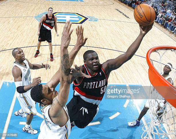 Zach Randolph of the Portland Trail Blazers gets to the basket past Tyson Chandler of the New Orleans/Oklahoma City Hornets on January 29 2007 at the...