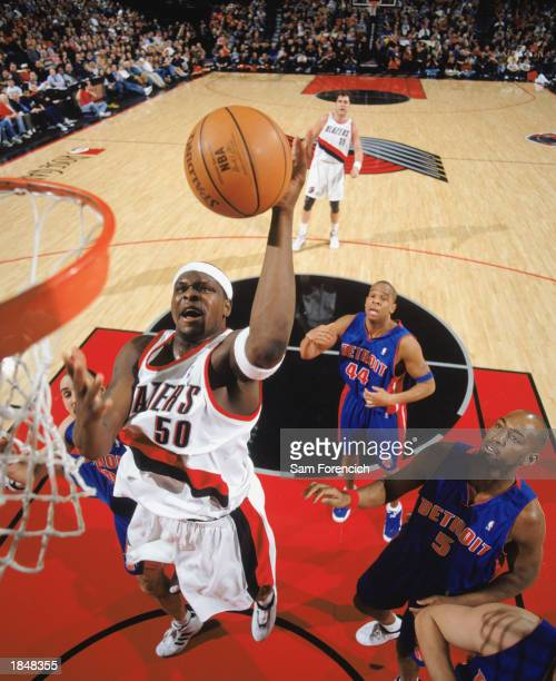 Zach Randolph of the Portland Trail Blazers goes for the basket during the NBA game against the Detroit Pistons at Rose Garden on March 2 2003 in...