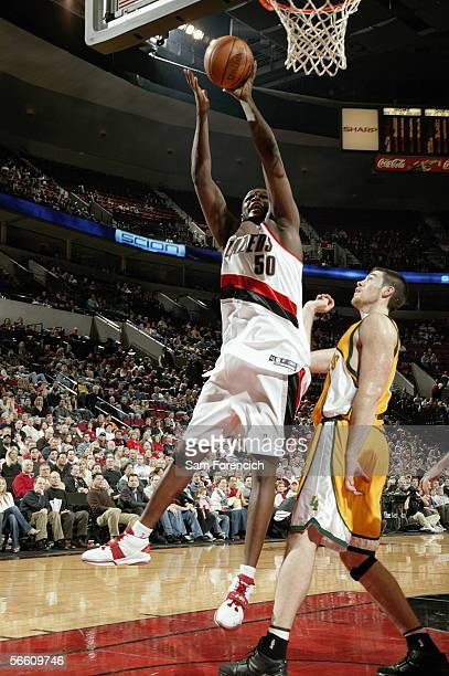 Zach Randolph of the Portland Trail Blazers goes for the basket against the Seattle Supersonics on December 16 2005 at the Rose Garden Arena in...