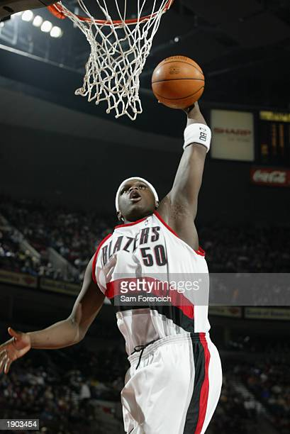 Zach Randolph of the Portland Trail Blazers goes to the basket during the NBA game against the Dallas Mavericks at the Rose Garden on March 28 2003...