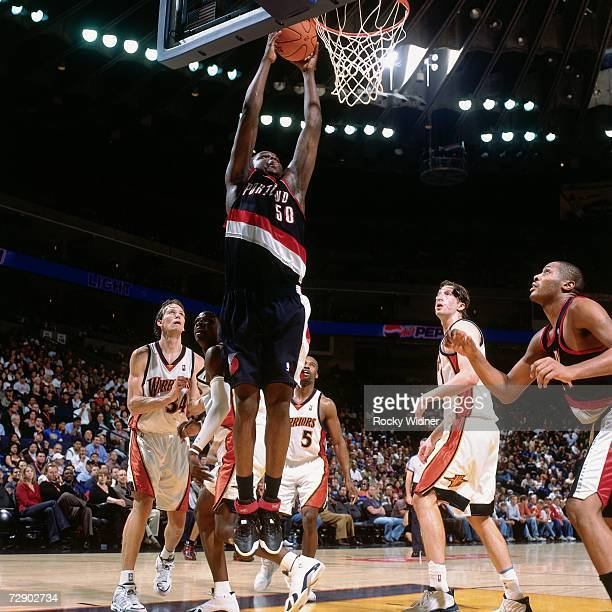 Zach Randolph of the Portland Trail Blazers goes to the basket during a game against the Golden State Warriors at the Oracle Arena on November 3 2006...