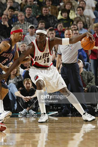 Zach Randolph of the Portland Trail Blazers in a game against the New Jersey Nets on November 28 2003 at the Rose Garden Arena in Portland Oregon...