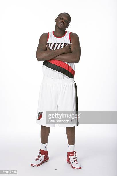 Zach Randolph of the Portland Trail Blazers poses for a portrait during 2006 NBA Media Day on October 2 2006 at the Rose Garden Arena in Portland...