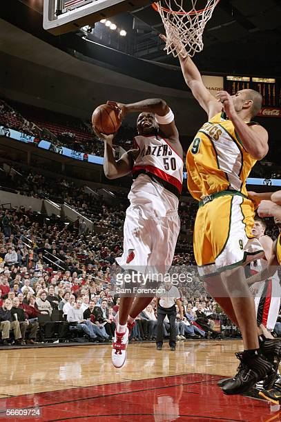 Zach Randolph of the Portland Trail Blazers reaches for the basket against the Seattle Supersonics during a game on December 16 2005 at the Rose...