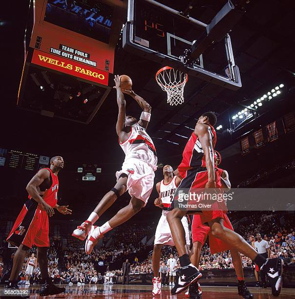 Zach Randolph of the Portland Trail Blazers reaches for the basket against the Toronto Raptors at The Rose Garden on January 18 2006 in Portland...