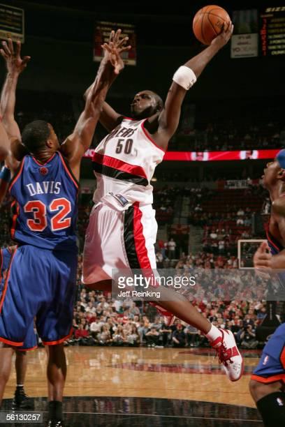 Zach Randolph of the Portland Trail Blazers shoots over Antonio Davis of the New York Knicks on November 9 2005 at the Rose Garden in Portland Oregon...