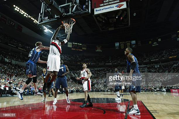 Zach Randolph of the Portland Trail Blazers takes the ball to the basket in Game four of the Western Conference Quarterfinals against the Dallas...