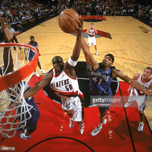 Zach Randolph of the Portland Trail Blazers takes the ball to the basket against Eddie Griffin of the Minnesota Timberwolves during a game at The...