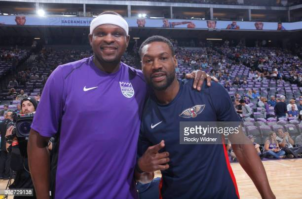 Zach Randolph of the Sacramento Kings and Tony Allen of the New Orleans Pelicans pose for a photo prior to the game on October 26 2017 at Golden 1...
