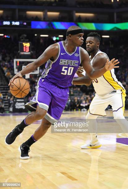Zach Randolph of the Sacramento Kings drives towards the basket on Julius Randle of the Los Angeles Lakers during their NBA basketball game at Golden...