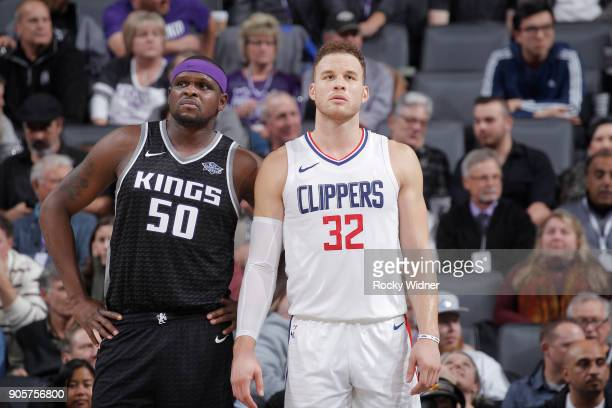 Zach Randolph of the Sacramento Kings faces off against Blake Griffin of the Los Angeles Clippers on January 11 2018 at Golden 1 Center in Sacramento...