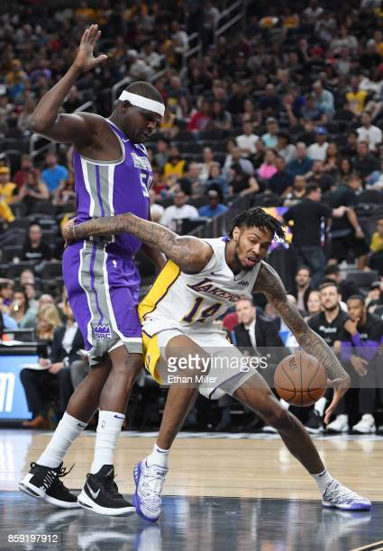 Zach Randolph of the Sacramento Kings guards Brandon Ingram of the Los Angeles Lakers during their preseason game at TMobile Arena on October 8 2017...