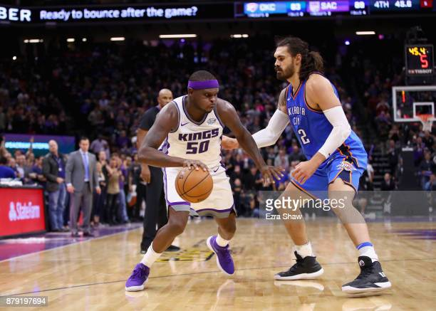 Zach Randolph of the Sacramento Kings is guarded by Steven Adams of the Oklahoma City Thunder at Golden 1 Center on November 7 2017 in Sacramento...