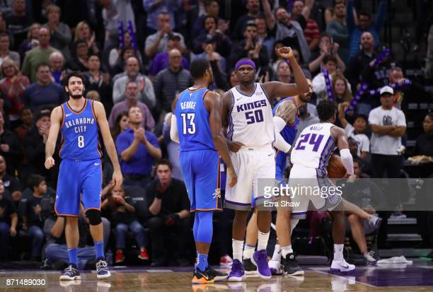 Zach Randolph of the Sacramento Kings reacts in the final minute of their win against the Oklahoma City Thunder at Golden 1 Center on November 7 2017...