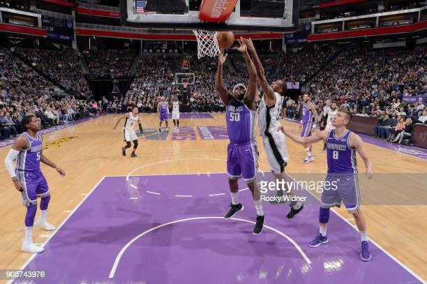 Zach Randolph of the Sacramento Kings rebounds against LaMarcus Aldridge of the San Antonio Spurs on January 8 2018 at Golden 1 Center in Sacramento...