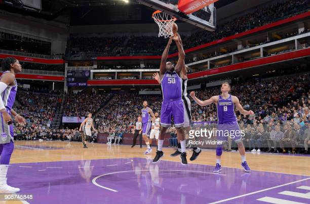 Zach Randolph of the Sacramento Kings rebounds against the San Antonio Spurs on January 8 2018 at Golden 1 Center in Sacramento California NOTE TO...