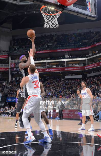 Zach Randolph of the Sacramento Kings shoots against Blake Griffin of the Los Angeles Clippers on January 11 2018 at Golden 1 Center in Sacramento...