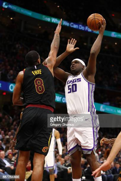 Zach Randolph of the Sacramento Kings takes a first half shot over Channing Frye of the Cleveland Cavaliers at Quicken Loans Arena on December 6 2017...