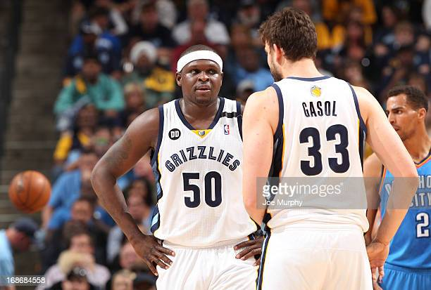 Zach Randolph shares a word with teammate Marc Gasol of the Memphis Grizzlies in Game Four of the Western Conference Semifinals against the Oklahoma...