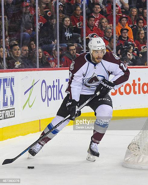 Zach Redmond of the Colorado Avalanche skates against the Calgary Flames during an NHL game at Scotiabank Saddledome on March 23 2015 in Calgary...