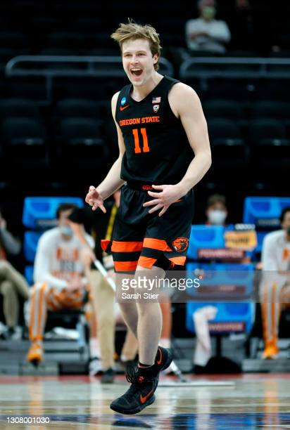 Zach Reichle of the Oregon State Beavers reacts during the second half against the Tennessee Volunteers in the first round game of the 2021 NCAA...
