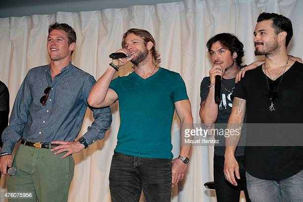 Zach Roerig Chase Coleman Ian Somerhalder and Michael Malarkey attend fans meeting of 'Bloody Night Con 2015' at the Hotel Barcelo Sants in Barcelona...