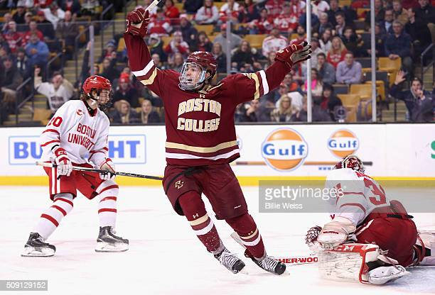 Zach Sanford of Boston College reacts after Alex Tuch scored a game winning goal in overtime to defeat Boston University in the Beanpot Tournament...