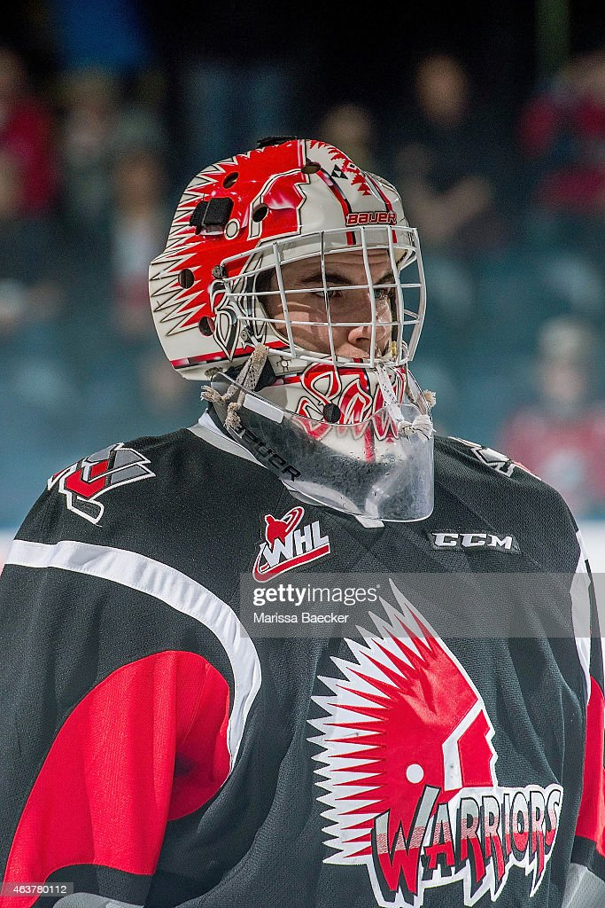 Zach Sawchenko #31 of Moose Jaw Warriors stands on the ice against the Kelowna Rockets on February 14, 2015 at Prospera Place in Kelowna, British Columbia, Canada.