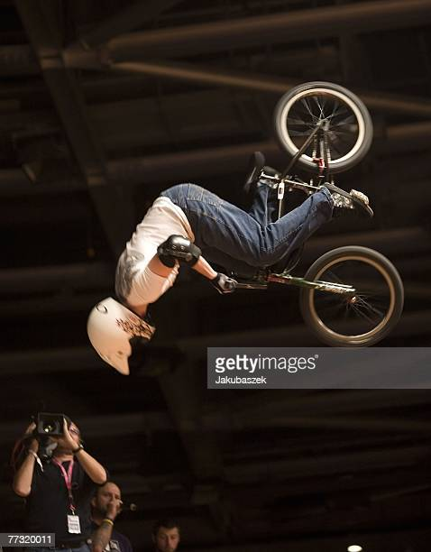 Zach Shawn of UK competes the BMX halfpipe competition and wins the 4th place at the TMobile Xtreme Playgound event at the Volodrom on October 13...