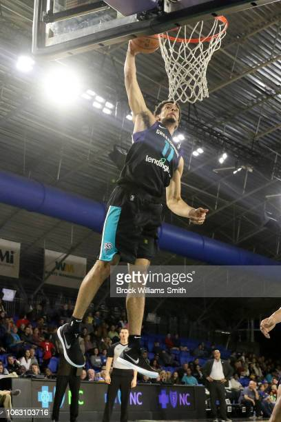 Zach Smith of the Greensboro Swarm dunks the ball against the Lakeland Magic during the NBA G-League on November 17, 2018 at the Greensboro Coliseum...