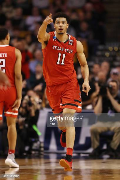 Zach Smith of the Texas Tech Red Raiders celebrates during the second half against the Purdue Boilermakers in the 2018 NCAA Men's Basketball...