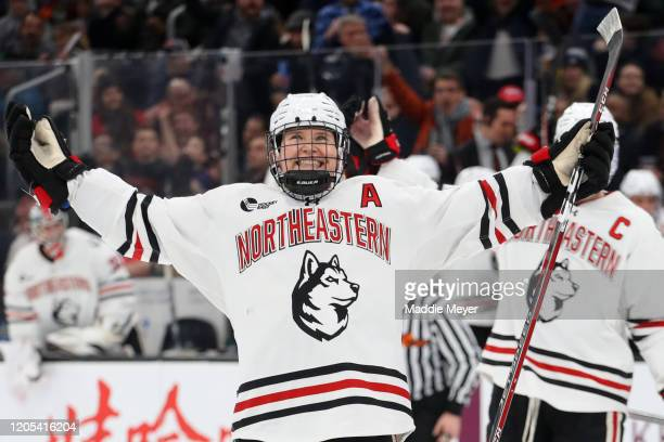 Zach Solow of the Northeastern Huskies celebrates after scoring a goal during the second period of the 2020 Beanpot Tournament Championship game...