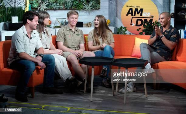 "Zach Stafford interviews Chandler Powell, Terri Irwin, Robert Irwin and Bindi Irwin during BuzzFeed's ""AM To DM"" on October 02, 2019 in New York City."