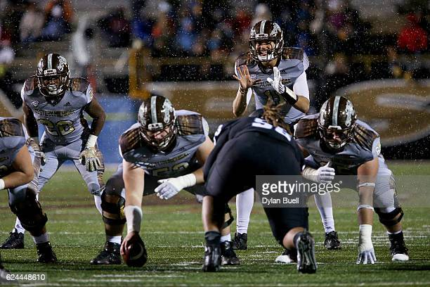 Zach Terrell of the Western Michigan Broncos prepares for the snap in the third quarter against the Buffalo Bulls at Waldo Stadium on November 19,...