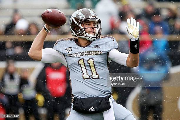 Zach Terrell of the Western Michigan Broncos throws a pass in the first quarter against the Buffalo Bulls at Waldo Stadium on November 19, 2016 in...